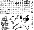 Medical set of black sketch. Part 104-15. Isolated groups and layers. - stock vector
