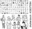 Medical set of black sketch. Part 106-30. Isolated groups and layers. - stock vector