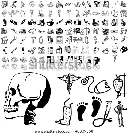 Medical set of black sketch. Part 101-7. Isolated groups and layers. - stock vector