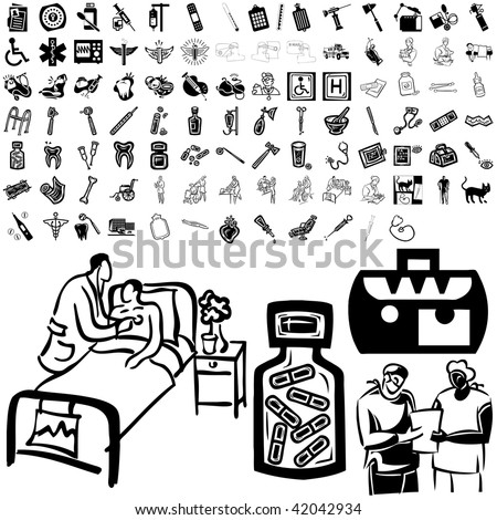 Medical set of black sketch. Part 103-9. Isolated groups and layers. - stock vector