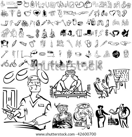 Medical set of black sketch. Part 105-11. Isolated groups and layers. - stock vector