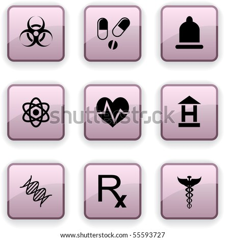 Medical  set of square dim icons.