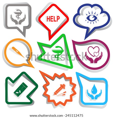 Medical set. Paper stickers. Vector illustration. - stock vector