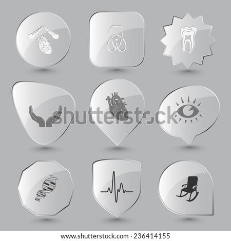 Medical set. Vector glass buttons. - stock vector
