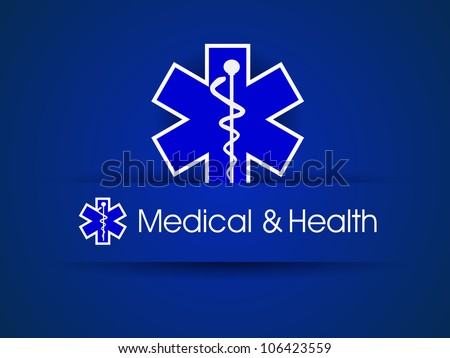 Medical sign,  caduceus on blue. EPS 10. - stock vector