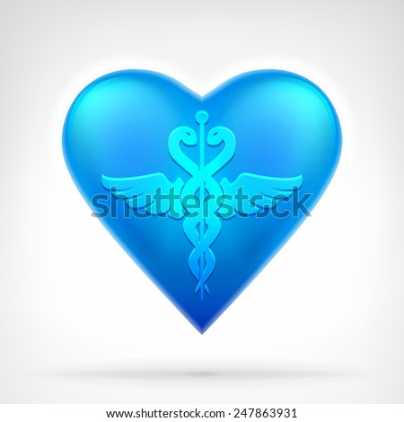 medical sign on blue heart symbol at modern icon graphic design isolated vector illustration on white background  - stock vector