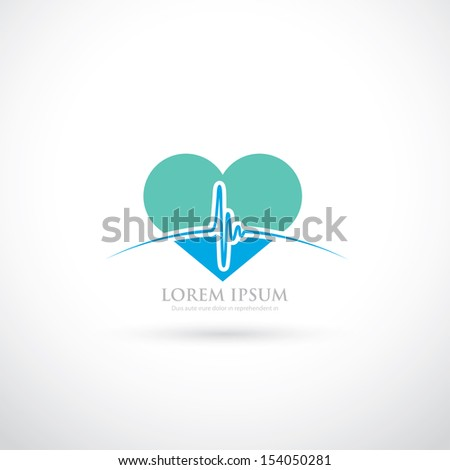 Medical sign with beating heart - vector illustration - stock vector