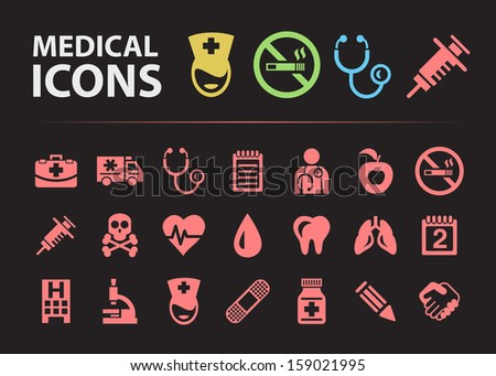 Medical Silhouette Icons. - stock vector