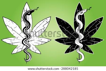 medical snake silhouette marijuana leaf symbol design vector illustration - stock vector