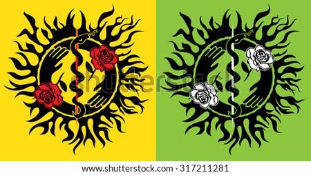 medical snake silhouette roses flower design illustration - stock vector