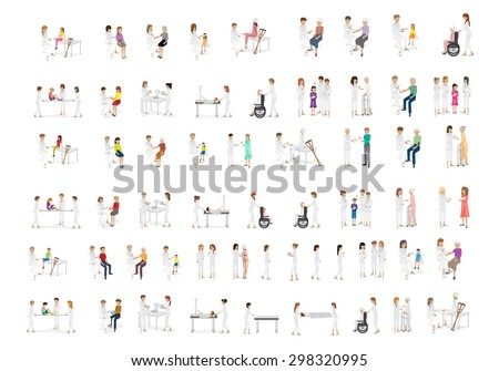 Medical Staff And Patients Different Situations - Isolated On White Background - Vector Illustration, Graphic Design Editable For Your Design - stock vector