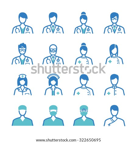 Medical staff icons set - stock vector
