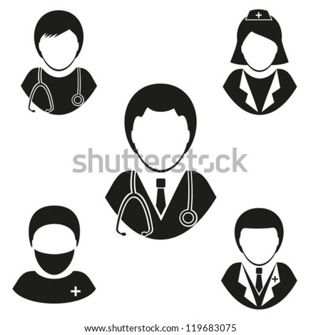 Medical staff. Set vector icons . EPS-10 (non transparent elements, non gradient) - stock vector