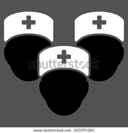 Medical Staff vector icon. Style is bicolor flat symbol, black and white colors, rounded angles, gray background.