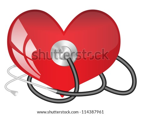 Medical stethoscope and  heart - stock vector