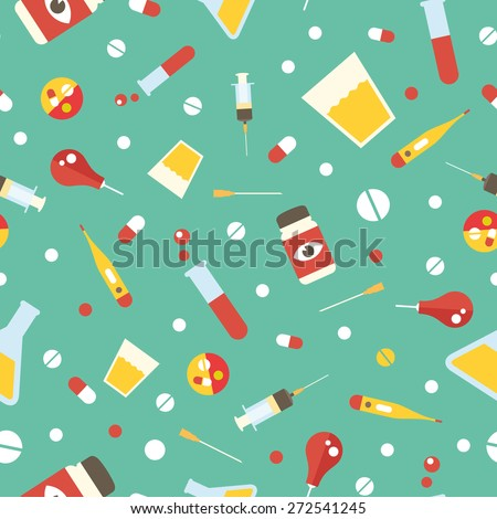 medical supplies pattern - stock vector