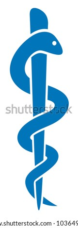 medical symbol caduceus snake with stick (emblem for drugstore or medicine, blue medical sign, symbol of pharmacy, pharmacy snake symbol) - stock vector