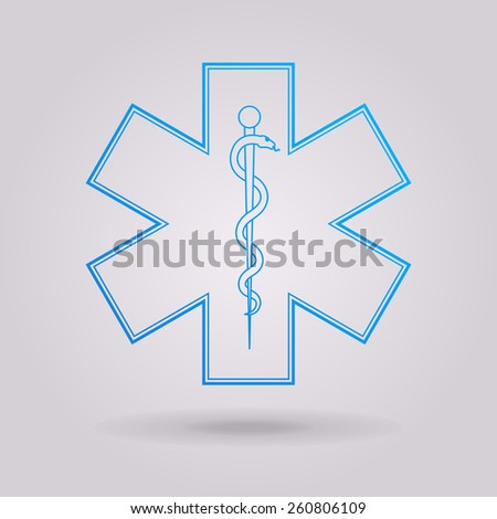 Medical symbol of the Emergency - Star of Life  - stock vector