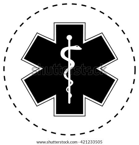 Medical symbol of the Emergency. Star of Life. icon isolated - stock vector