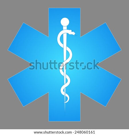 Medical symbol of the Emergency - Star of Life. Rod of Asclepius. Vector  icon. The illustration on gray background - stock vector