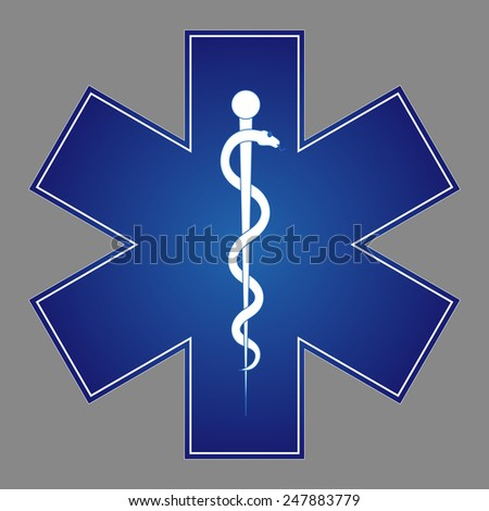 Medical symbol of the Emergency - Star of Life. Vector  icon. The illustration on gray background - stock vector