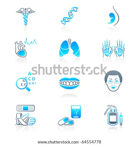 Medical symbols, specialties, human organs and health-care objects - stock vector