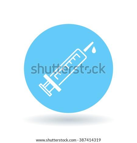 Medical syringe icon. Injection sign. Vaccine symbol. White syringe icon on blue circle background. Vector illustration. - stock vector