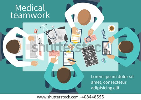 Medical team doctors at desktop. Diagnostic medical equipment. Research documents. Medical healthcare concept. Teamwork of doctors. Group of doctors, surgeons. Flat design, vector. Banner web, print - stock vector