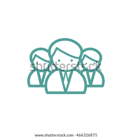 Medical team thin line icon isolated on beige background