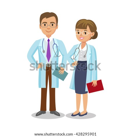 Medical team. Two doctors with stethoscopes, man and woman. Healthcare and medical concept. Vector Illustration - stock vector