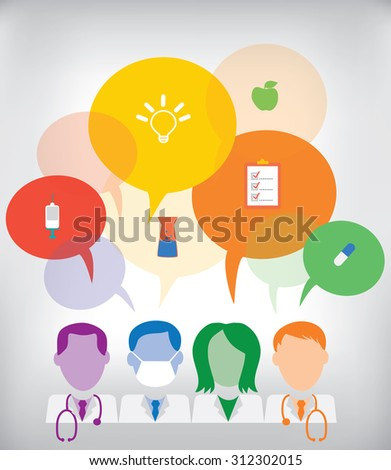 Medical team with speech bubbles and medical icons: doctors, nurse, surgeon - stock vector