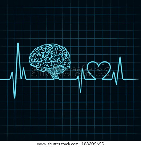 Medical technology concept -heartbeat make a brain icon - stock vector