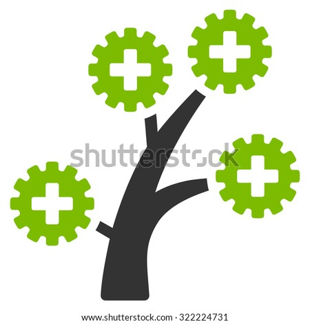 Medical Technology Tree vector icon. Style is bi-color flat symbol, Eco green and gray colors, rounded angles, white background. - stock vector