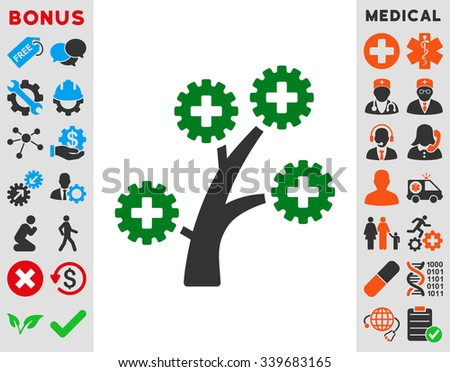 Medical Technology Tree vector icon with bonus. Style is bicolor flat symbol, green and gray colors, rounded angles, white background.