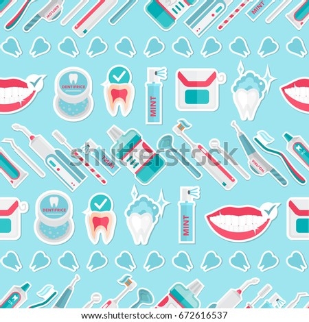 Medical Teeth Hygiene Pattern Vector With Tools And Equipment On Blue Background Dental Care Flat