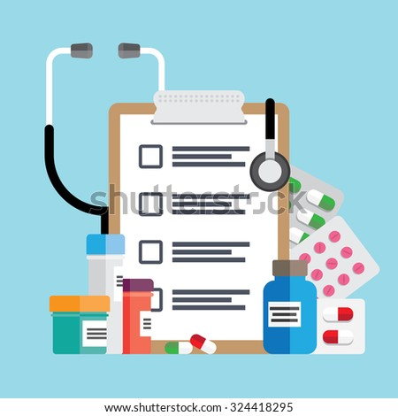 Medical template with medicine equipment - stock vector