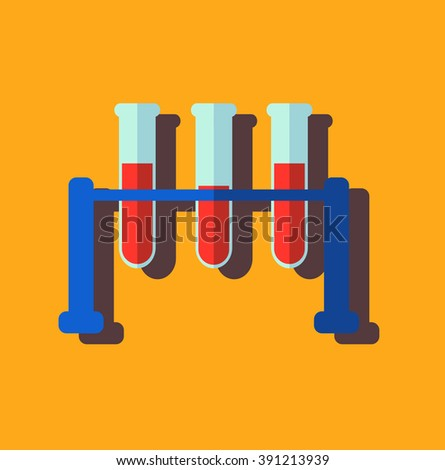 Medical test tube with blood, flat design, vector illustration - stock vector
