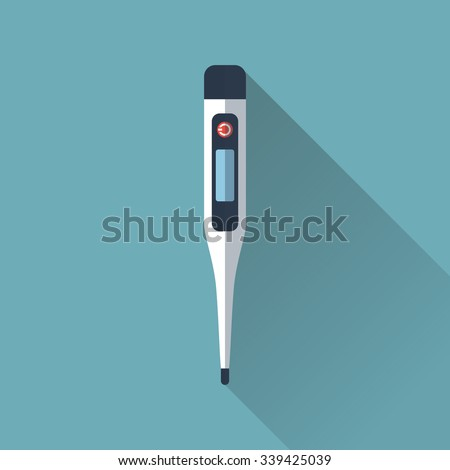 medical thermometer. Digital thermometer isolated with long shadow. Flat design, vector illustration - stock vector
