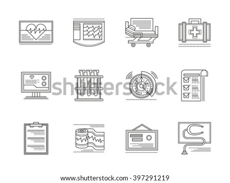 Medical tools and equipment. Cardiology elements. Health treatment service. Set of flat black line vector icons. Elements for web design and mobile. - stock vector