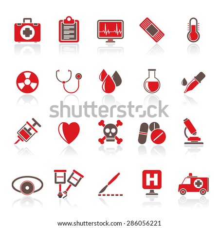medical tools and health care equipment icons  - vector icon set - stock vector