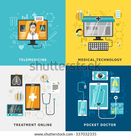 medical treatment online concept in flat design - stock vector