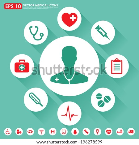 Medical vector icon set in light green & red colors - stock vector
