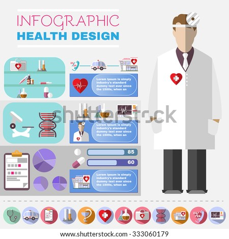 Medical Vector Infographic. Health Design Flyer. Healthcare Related Colorful Icons. Digital Background Banner Illustration. - stock vector
