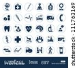 Medical web icons set. Hand drawn sketch illustration isolated on white background - stock vector