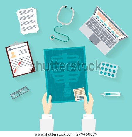 Medical workplace and icon flat set: Doctor holding X-ray. Stethoscope, Thermometer, Pill and Tablet. Isolated vector flat illustrations with long shadow - stock vector