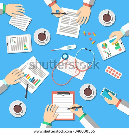 Medical Workplace. Medical Doctors working at the table in clinic. Flat Design, Vector Illustration Icons