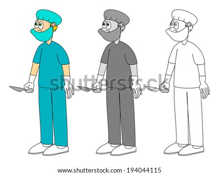 Medical young male cartoon surgeon in green uniform and mask on his face, holding a scalpel, colorful, grayscale and outline design, vector art image illustration, isolated on white background	 - stock vector