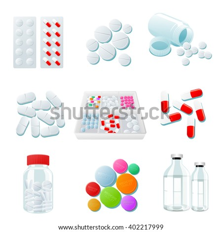 medicaments of various types, set of medical pill, vector Medicine isolated on white background, colorful products. Bottles and boxes with colored vitamins. Things to human health.