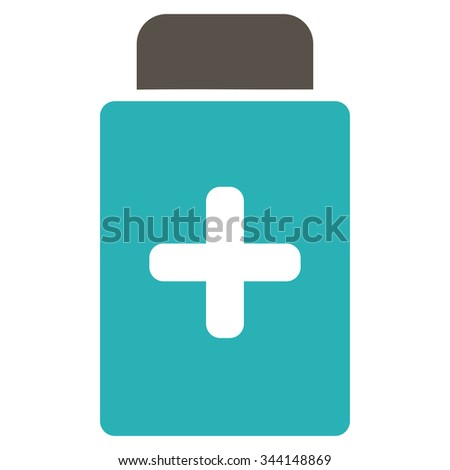 Medication Bottle vector icon. Style is bicolor flat symbol, grey and cyan colors, rounded angles, white background.