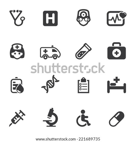 Medicine and Health care Silhouette icons 1 - stock vector